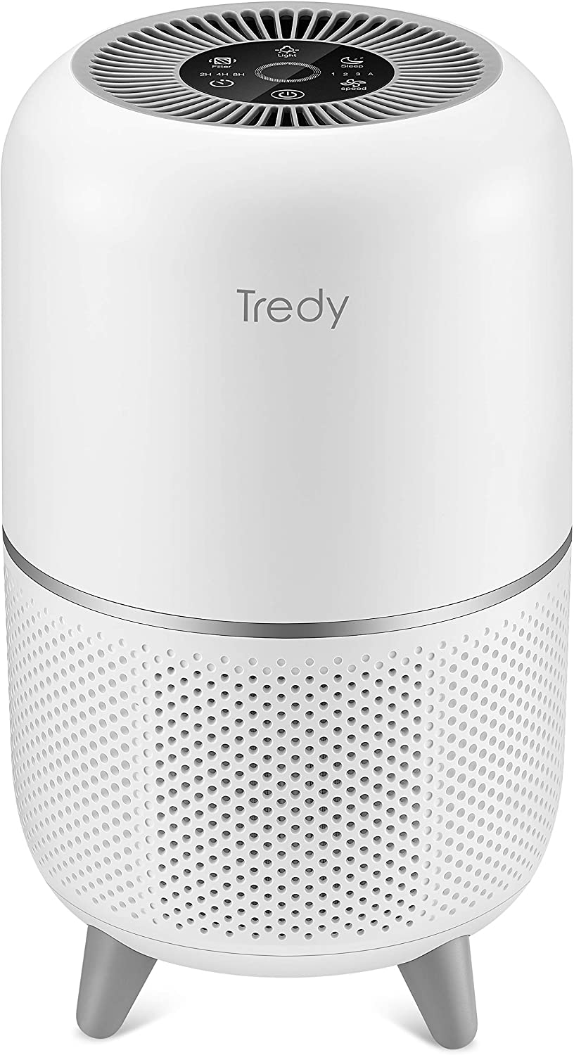 TREDY Hepa Air Purifier for Home 200 Sq.ft Large Room with Air Quality Sensor, Air Filter for Allergies and Pets, Eliminates Pollen/Dust/Smoke/Odor for Living Room Bedroom or Office
