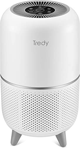 TREDY Hepa Air Purifier for Home 200 Sq.ft Large Room with Air Quality Sensor, Air Filter for Allergies and Pets, Eliminates Pollen Dust Smoke Odor for Living Room Bedroom or Office