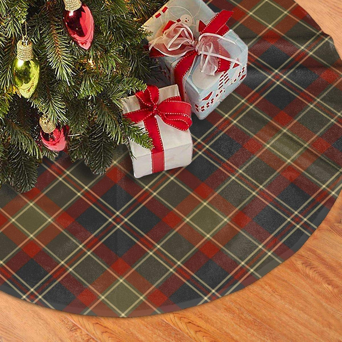 36 48 Inch Moss Green And Cranberry Woodland Christmas Plaid Christmas Tree Skirt Rustic Xmas Tree Holiday Decorations