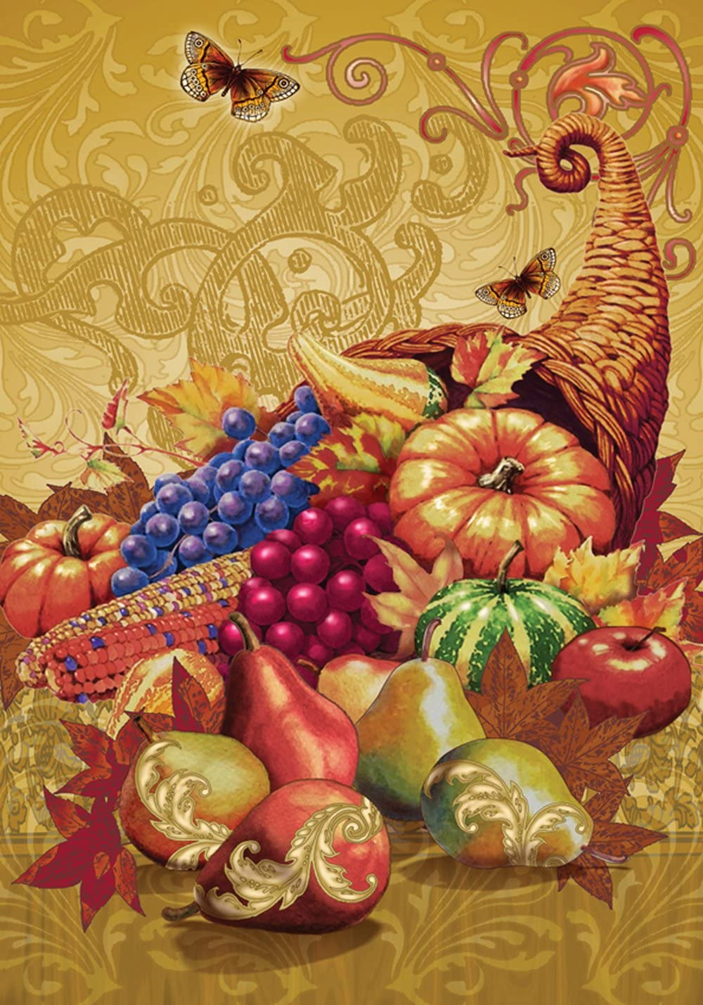 Toland Home Garden Mountain of Thanks 12.5 x 18 Inch Decorative Fall Autumn Cornucopia Harvest Thanksgiving Garden Flag