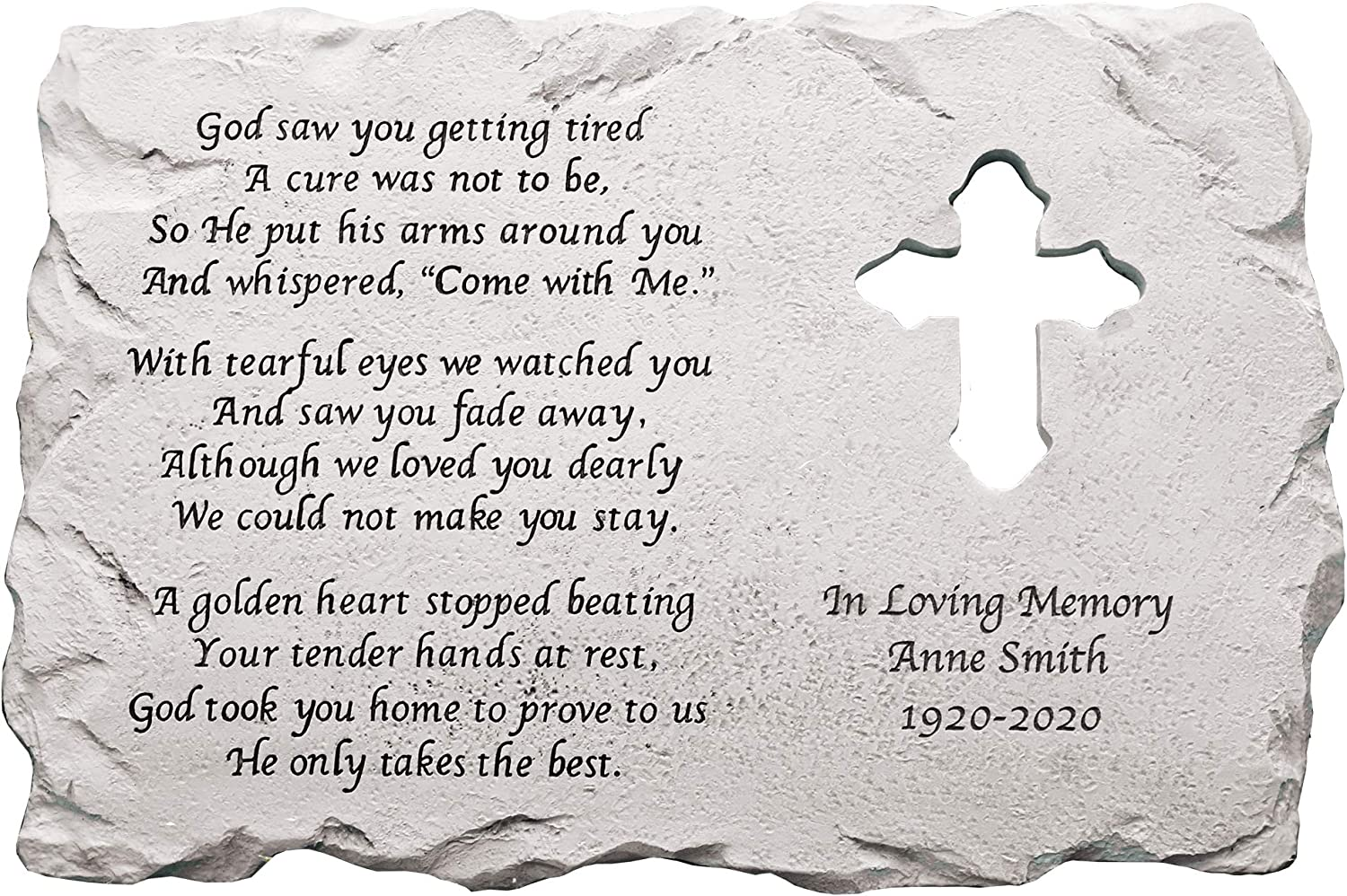 Let's Make Memories Personalized Memorial Cross Stepping Stone - Sympathy Garden Marker - Durable, Weather-Resistant Cast Resin - Engraved with Loved One's Name & Personalized Condolences