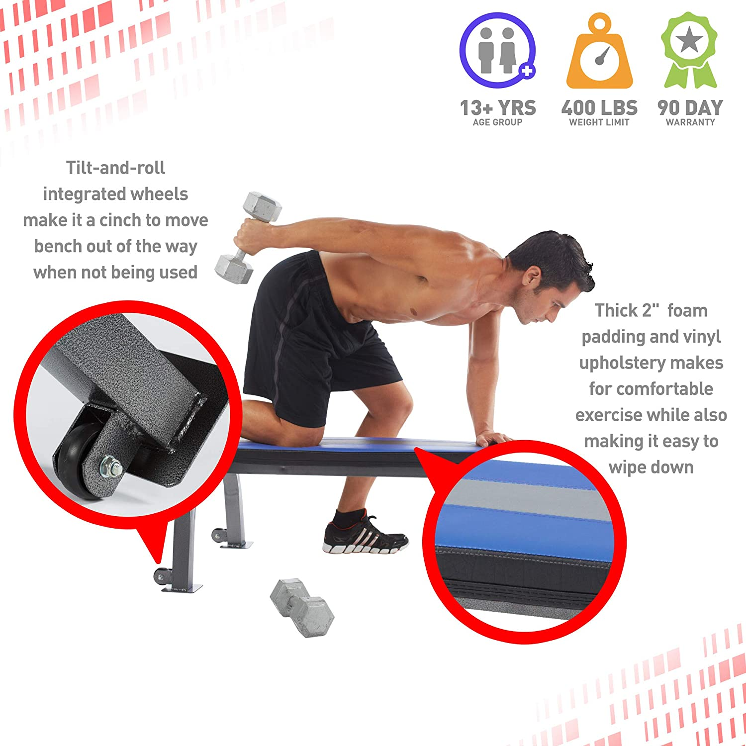 Pure Fitness Flat Bench Weight Bench with Wheels