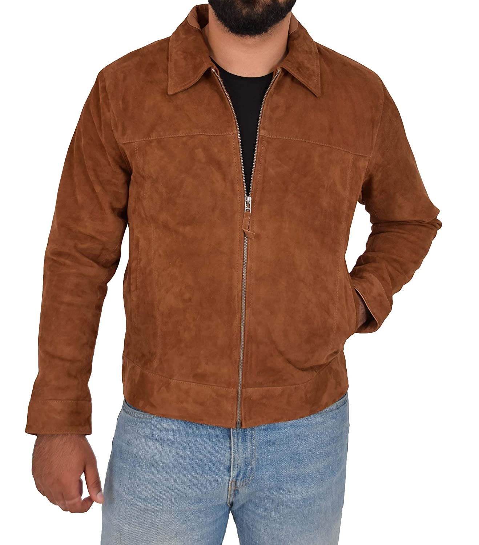 - A1 FASHION GOODS Genuine Soft Tan Suede Zip Jasper Blouson Jacket for Men Baxter