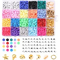 4000 stuks kleiparels, 6 mm vlakke, ronde kralen met 270 sieradenproductiekit, 20 kleuren, handgemaakte platte kralen…