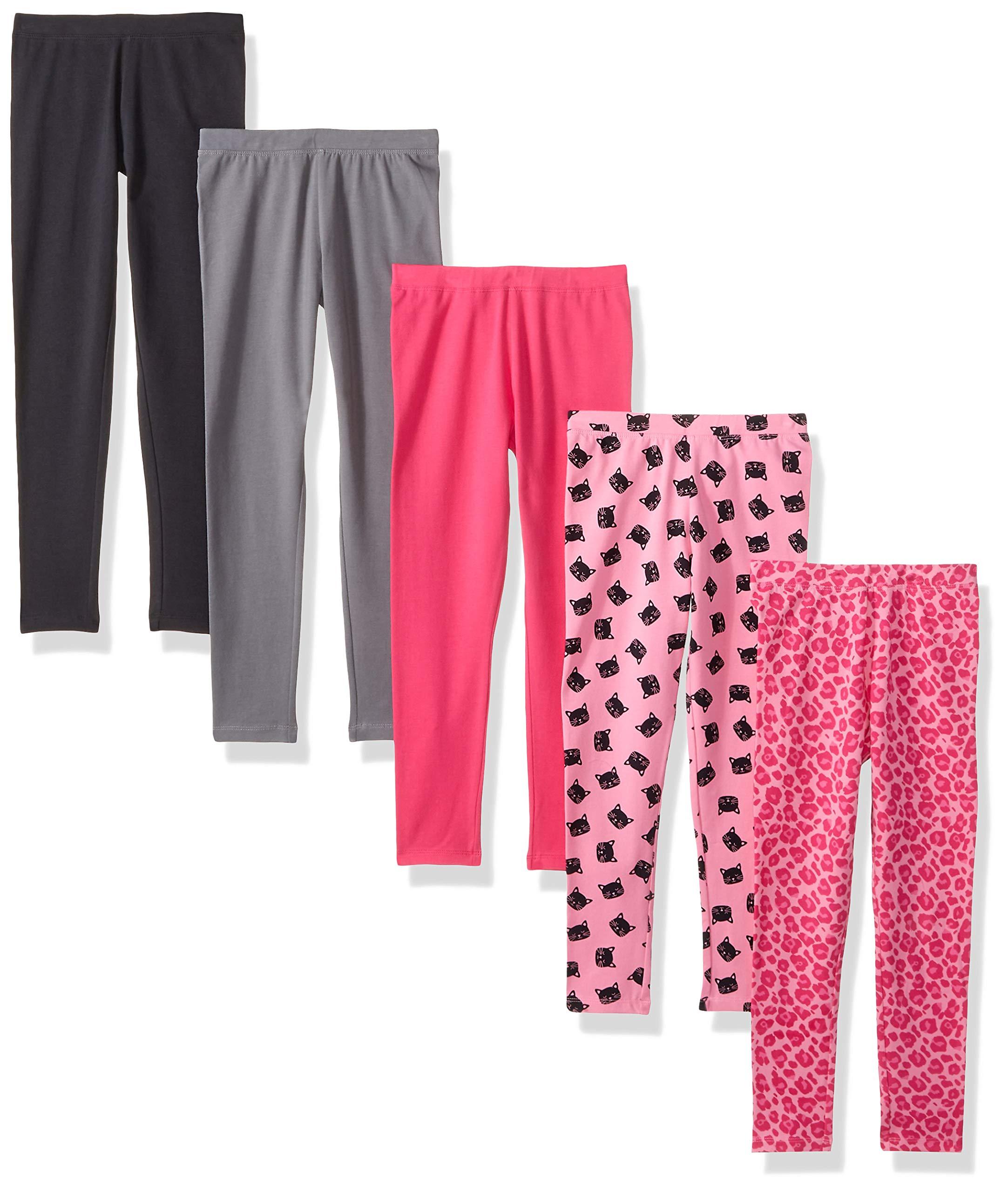 Spotted Zebra Little Girls' 5-Pack Leggings, Pink Cat Small (6-7)