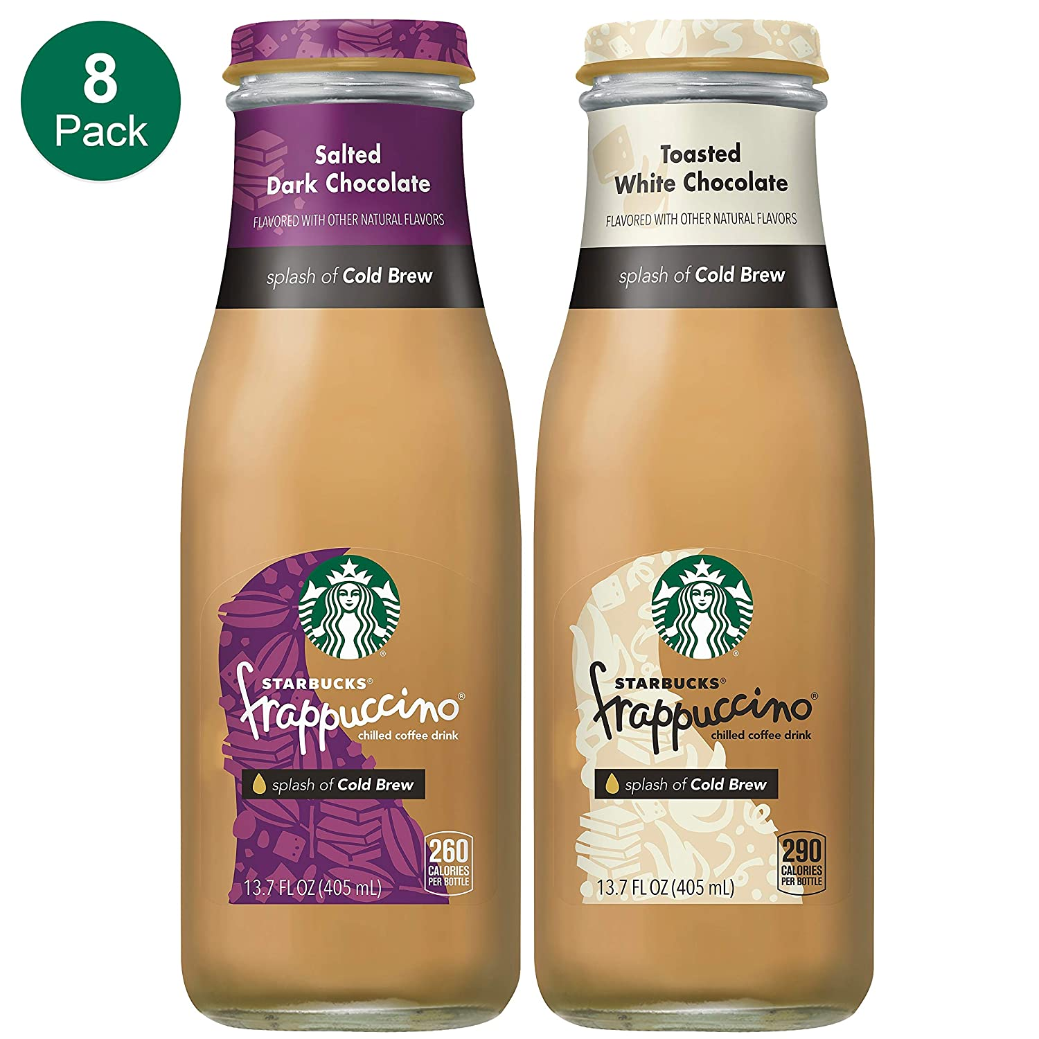 Starbucks Frappuccino Crafted With Cold Brew Chocolate Variety Pack Salted Dark Chocolate White Chocoalate 13 7 Fl Oz 8 Count Glass Bottles