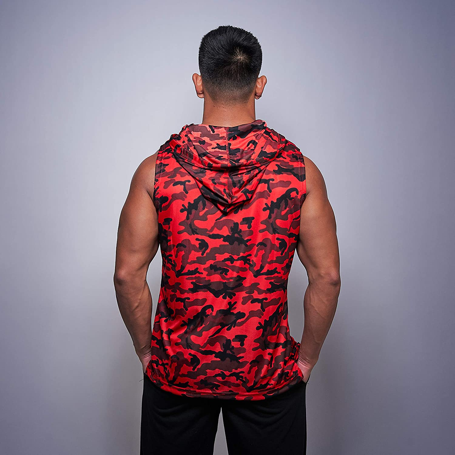Mens Red Camo Gym Hoodie Bodybuilding Muscle Army Sleeveless Workout Top