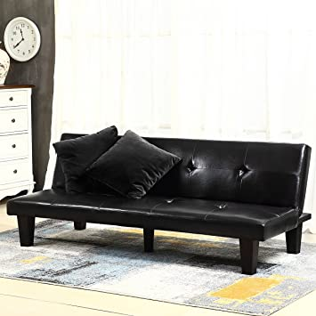 "Amazon Belleze 69"" Leather Faux Fold Down w 2 Pillow Futon"