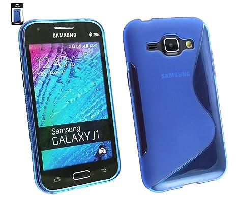 Emartbuy® Samsung Galaxy J1 Ultrafina a Presión TPU Gel Funda Carcasa Case Cover Azul