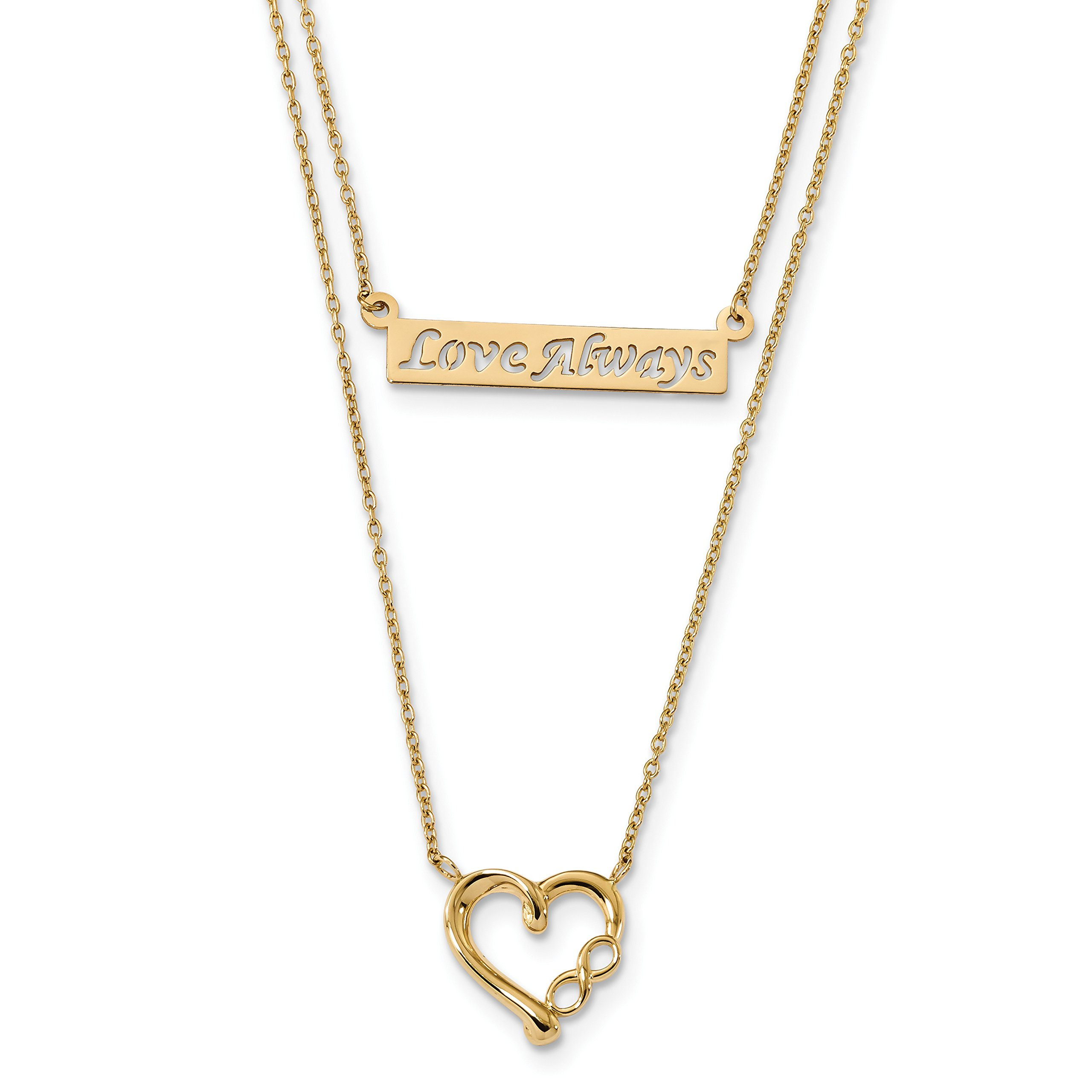 ICE CARATS 14k Yellow Gold Two Strand Love Always Heart Chain Necklace Fancy S/love Fine Jewelry Gift Set For Women Heart