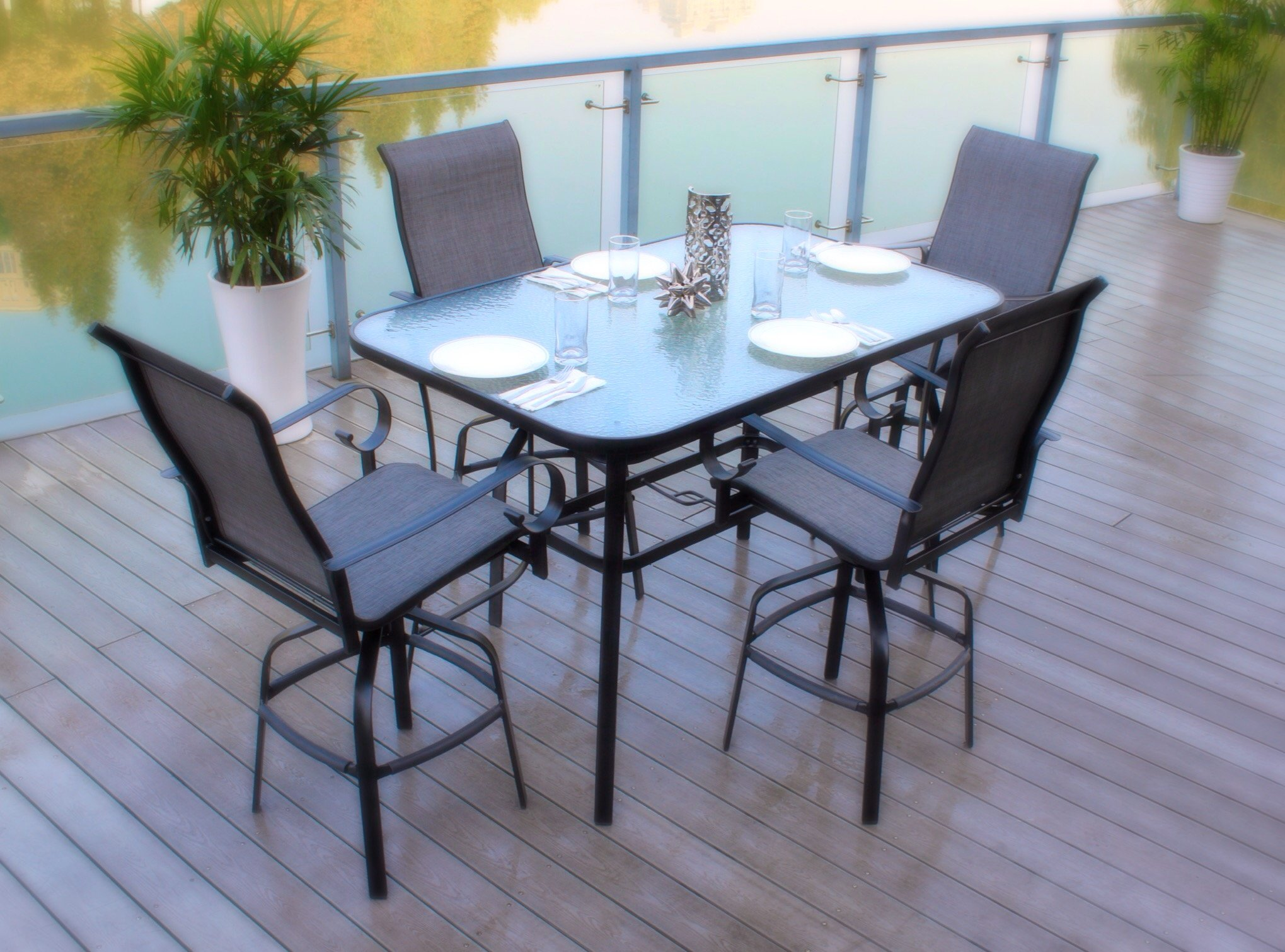 Pebble Lane Living All Weather Rust Resistant Indoor/Outdoor 5 Piece Powder Coated Patio Bar Dining Set, 1 Tempered Glass Top Bar Dining Table & 4 Swivel Bar Stools, Black/Grey