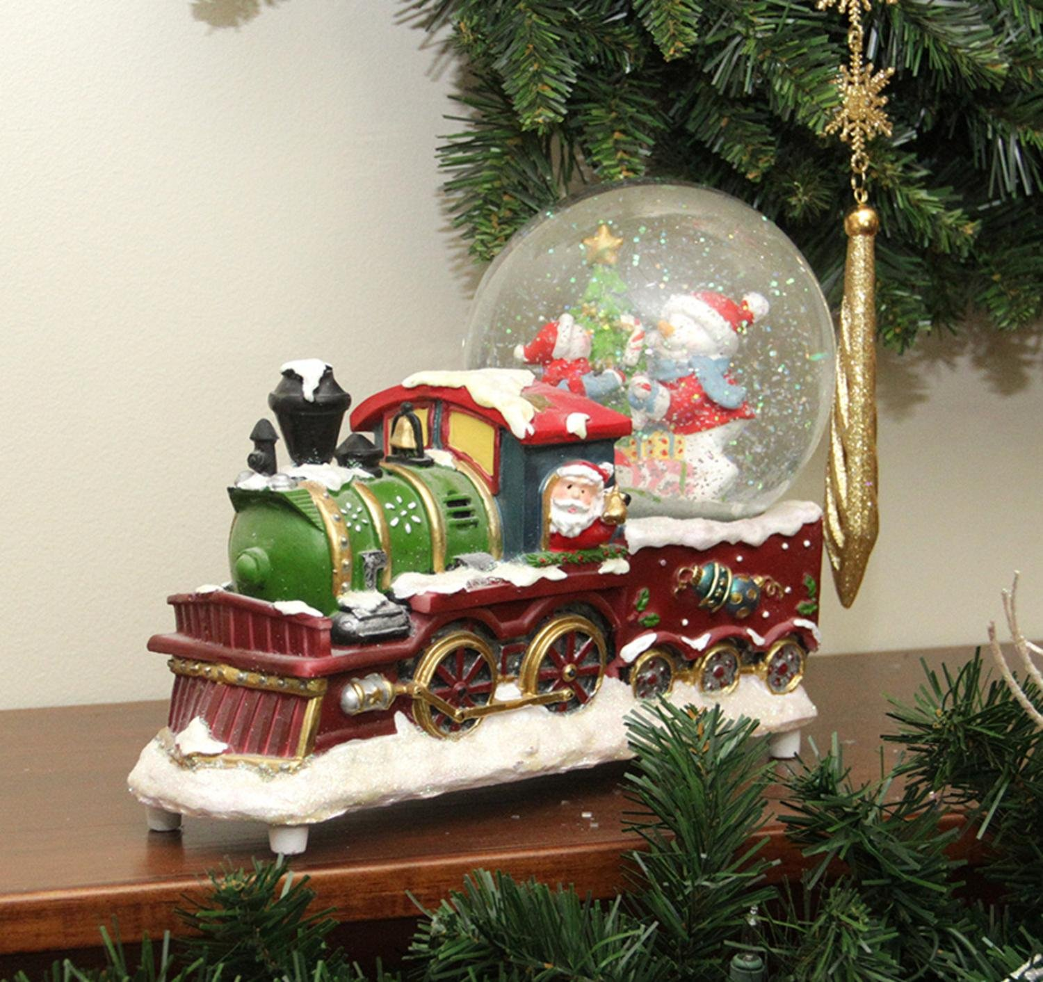 Northlight 9.5'' Santa Claus Christmas Train with Snowman Scene Glitterdome Snow Globe Table Top Decoration