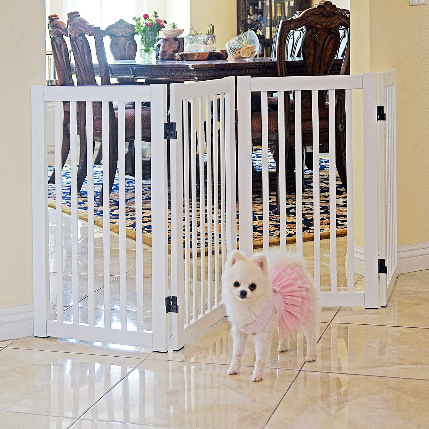 WELLAND Freestanding Wood Pet Gate White, 54-Inch Width, 30-Inch Height (No Support Feet) WSV815-540 White-FBA