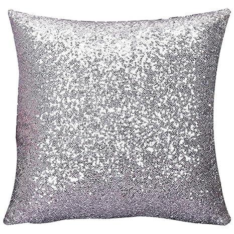 outflower lentejuelas funda de cojín color (funda de almohada cojines de sofá blanco plateado 40 * 40 cm)