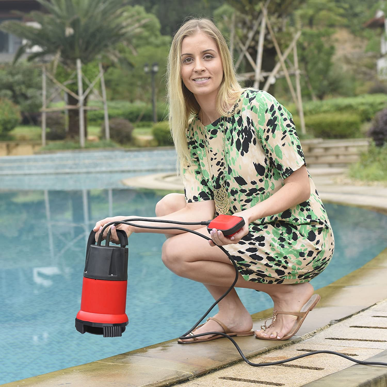 Red Submersible Sump Pump,Voluker 1//2 HP Water pump Clean//Dirty Water 15ft Cable and Float Switch