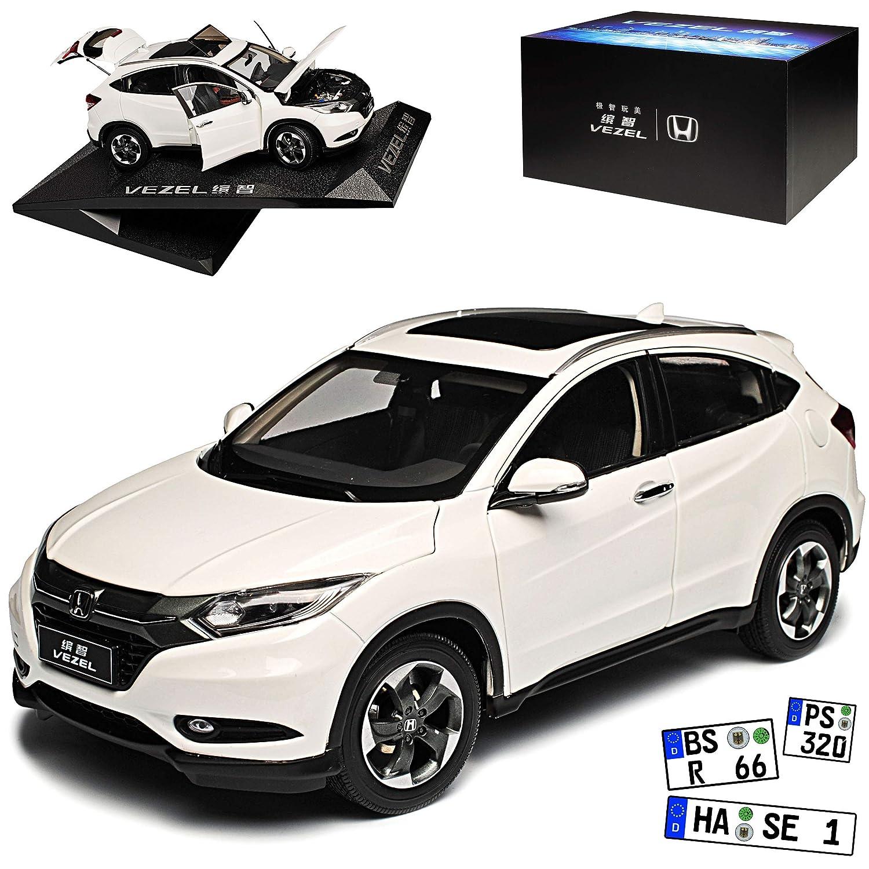 Generation Ab 2015 1//18 Modell Auto mit individiuellem Wunschkennzeichen Paudi Honda HR-V Vezel SUV Weiss 2