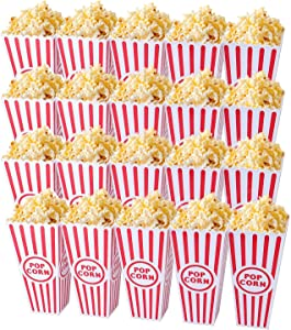 "Tebery 20 Pack Plastic Open-Top Popcorn Boxes Reusable Movie Theater Style Popcorn Container Set -7.7"" Tall x 4"" Square"