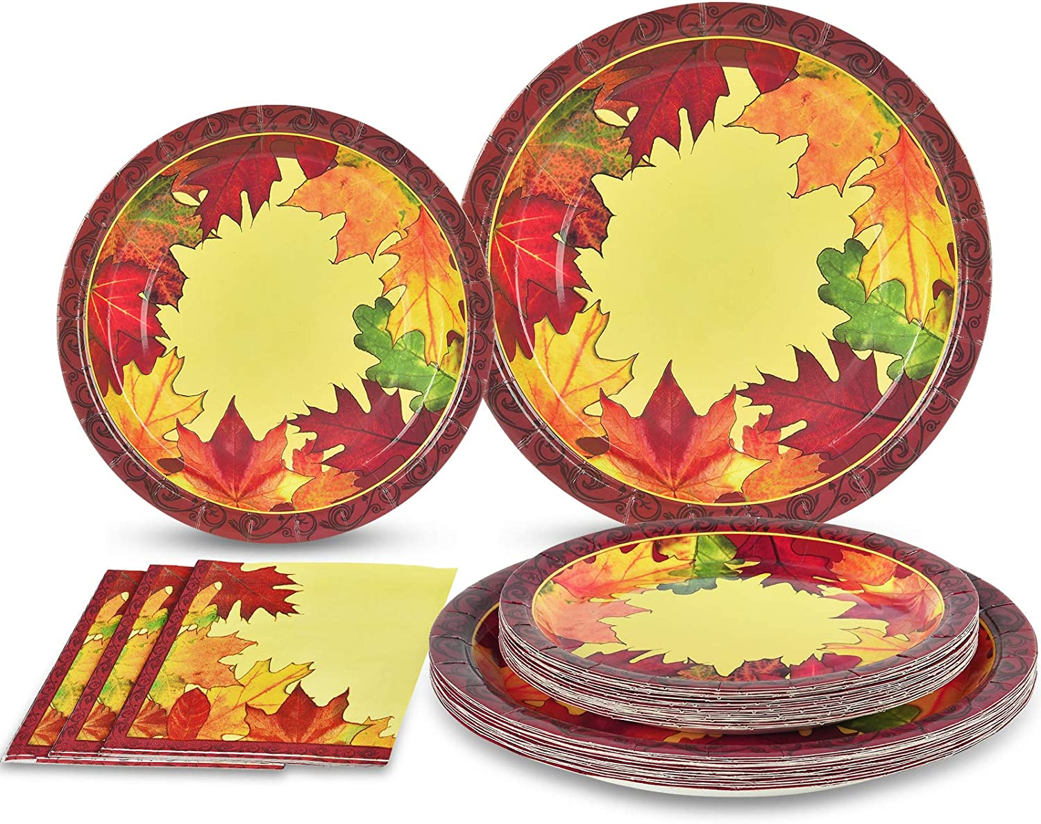 Thanksgiving Paper Plates and Napkins Disposable for 50 Guests Includes 50 9