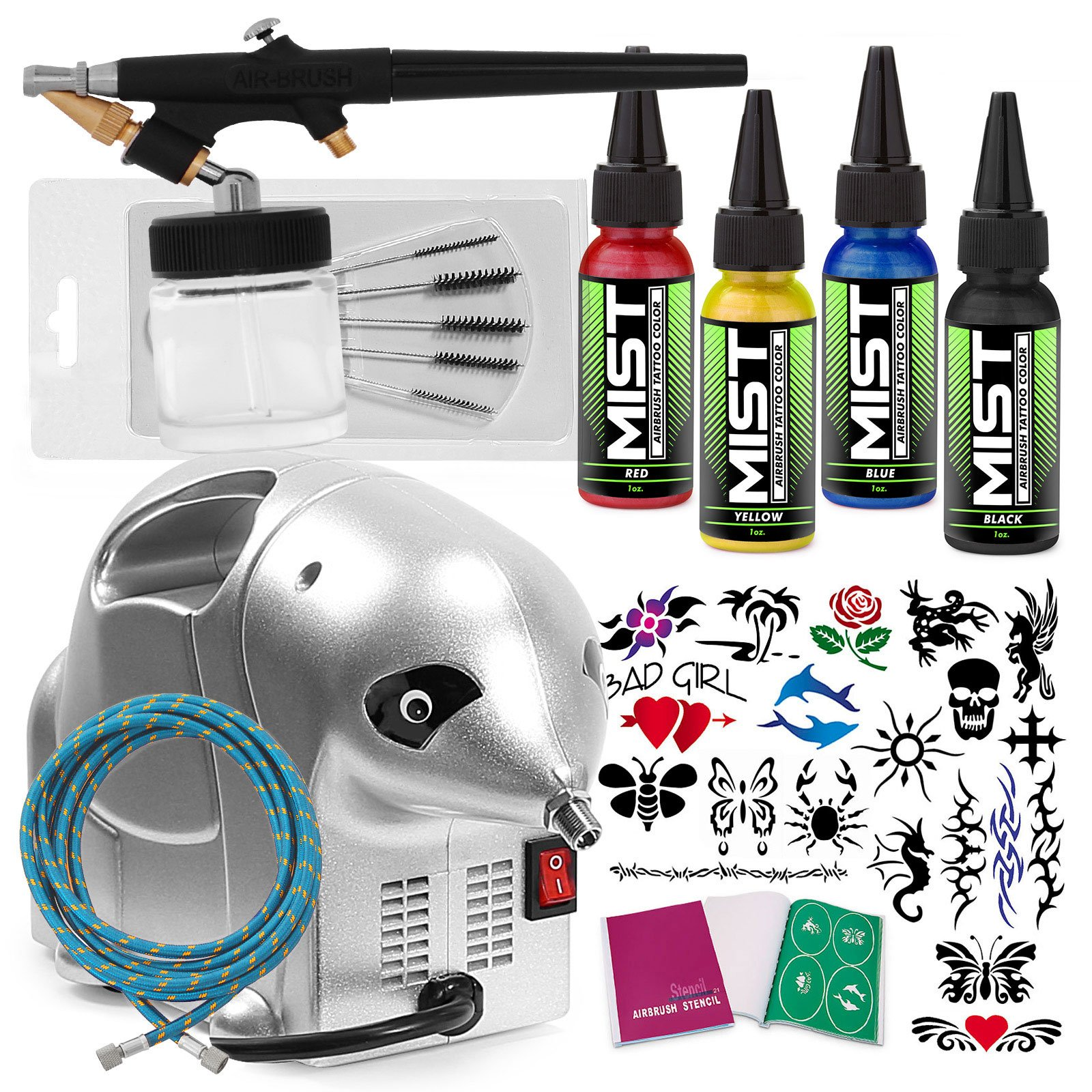 PointZero Complete Temporary Tattoo Airbrush Set - 4 Color 20 Stencil Kit by Point Zero