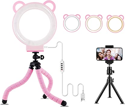 6 Ring Light with Tripod Stand for Selfie,Makeup Live Cell Phone Holder,Desktop LED Lamp for YouTube