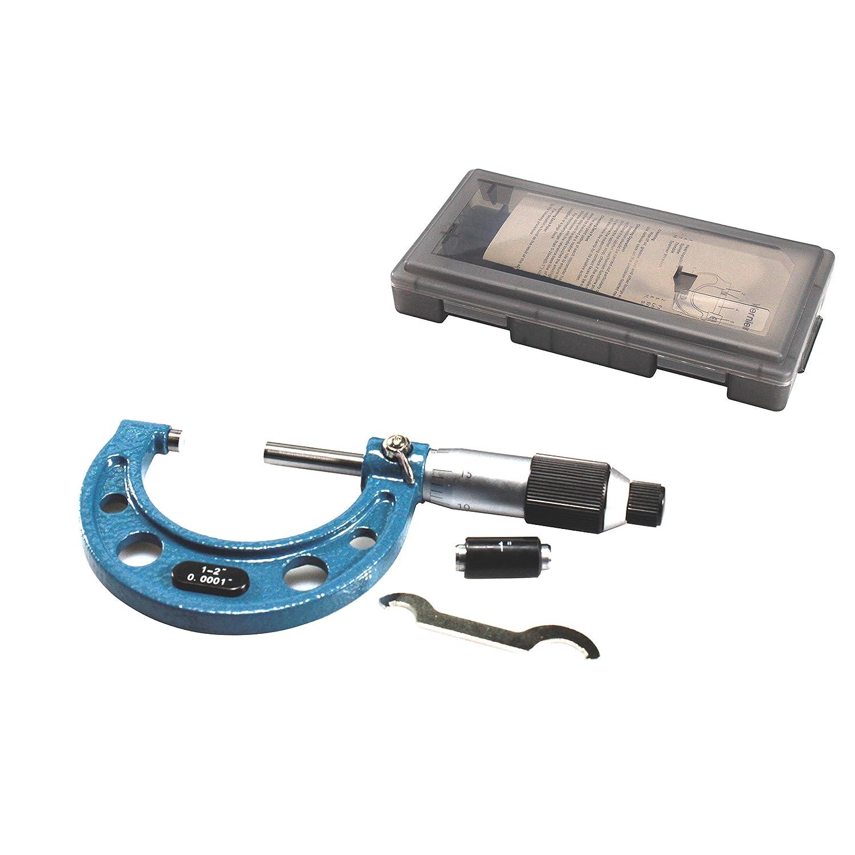 R 1-2Range .0001Graduation Solid Metal Frame Outside Micrometer Plastic Case HFS