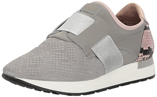 Ted Baker Women's Kygoa Lthr AF Grey/LT Pink Sneaker, Grey Light Pink,