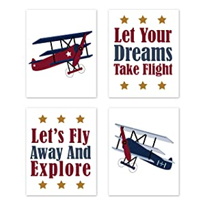 Sweet Jojo Designs Vintage Airplane Wall Art Prints Room Decor for Baby, Nursery, and Kids - Set of 4 - Red White and Blue Aviator Plane Sky