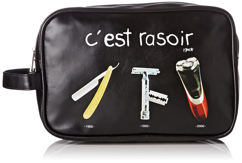 Incidence Paris 61868 Trousse de toilette rectangulaire Je range mon bazar Kaki Nylon Fermeture zip Anse de transport Poche intérieure zippée, 24 cm, Kaki