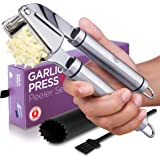 Alpha Grillers Garlic Press. Stainless Steel Mincer & Crusher With Silicone Roller Peeler. Easy Squeeze, Rust Proof…