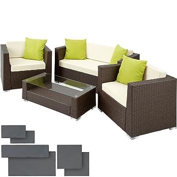 TecTake Hochwertige Alu Luxus Lounge Set Poly-Rattan Sitzgruppe ...