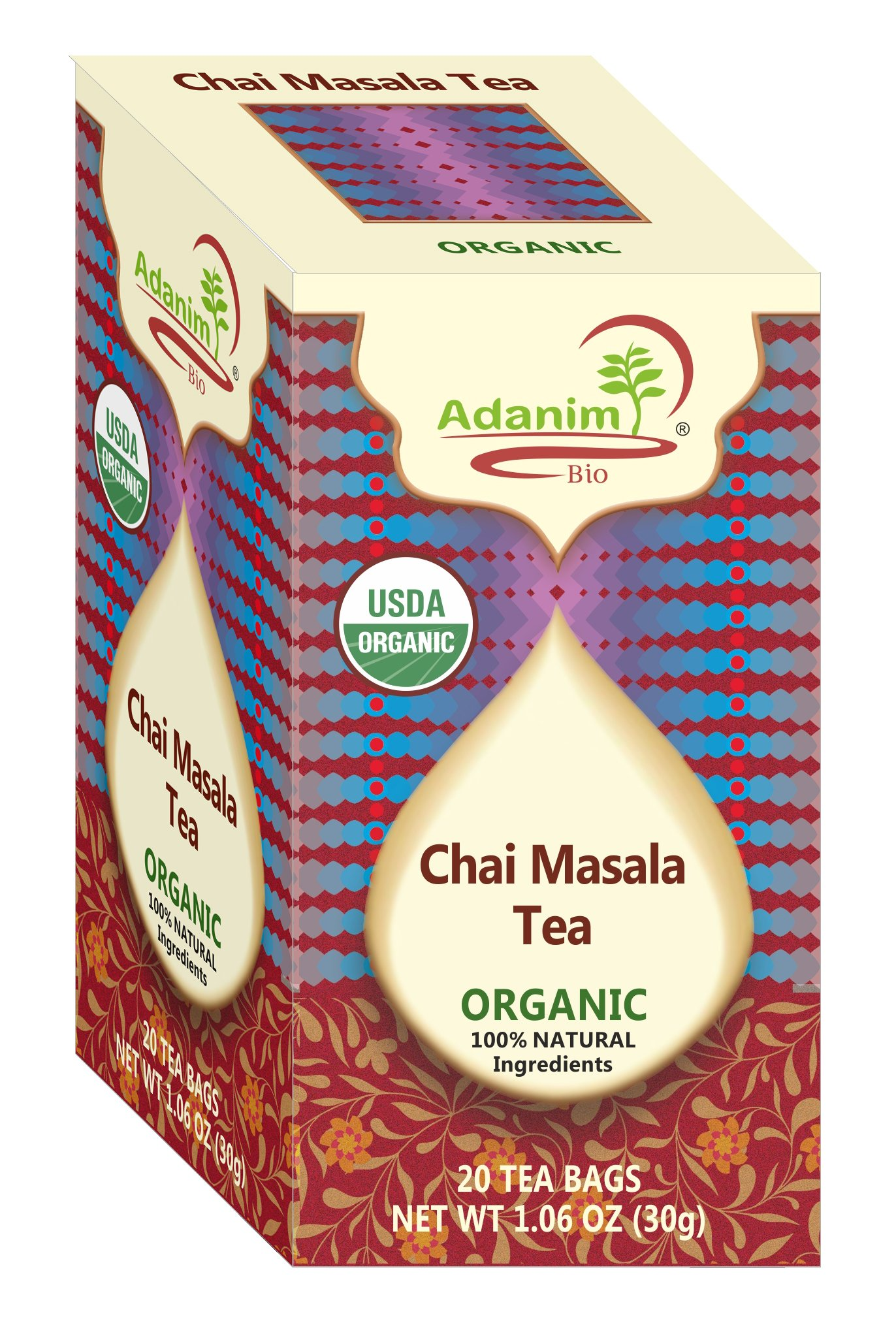 Adanim Chai Masala Tea Bags - Organic Bombay Chai Herbal Tea Blend of Ginger, Cardomom, Cinnamon & Clove (Pack of 3, 60 Count)