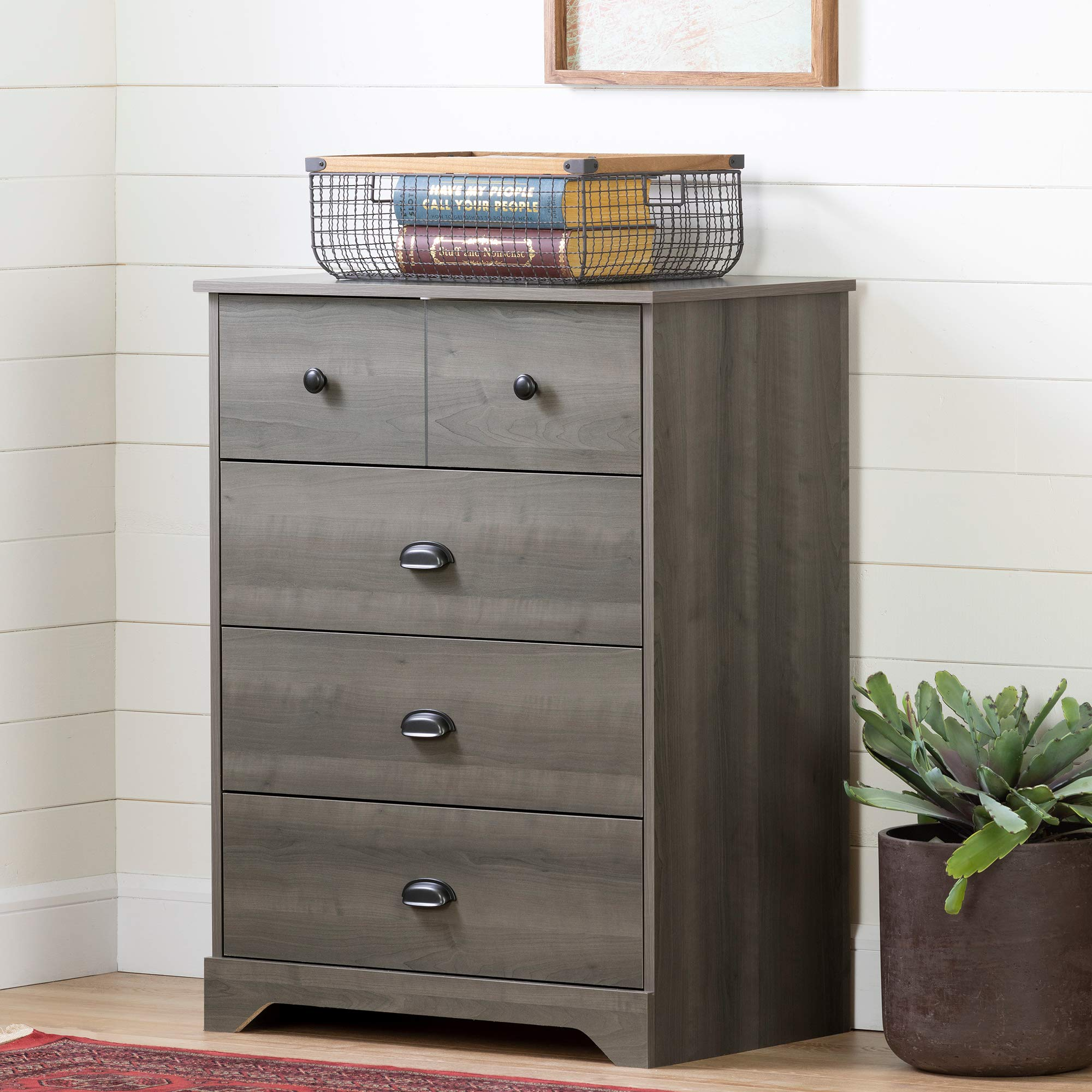 South Shore Volken 4-Drawer Chest Dresser-Gray Maple by South Shore
