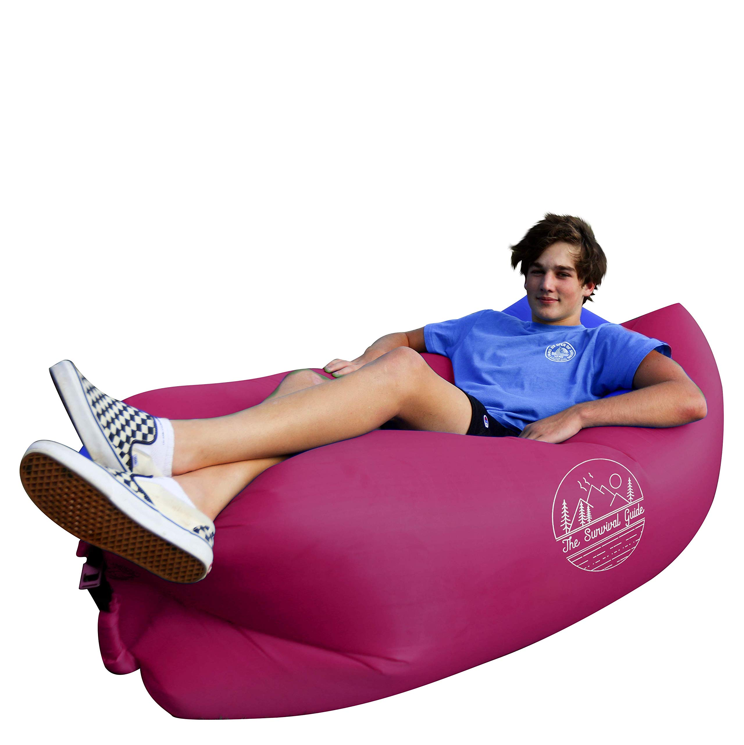 The Survival Guide Inflatable Air Sofa | Portable Lounger Couch for Indoor & Outdoor Use Camping, Beach & Festival | Easy to Inflate Hammock Couches with Carry-on Bag | Pillow-Shaped Headrest Design by The Survival Guide