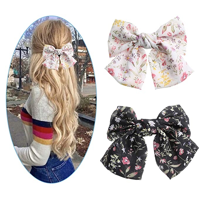 Ladies Barrette chiffon Hand crafted over sized BIG hair scarf bow Women burgundy navy