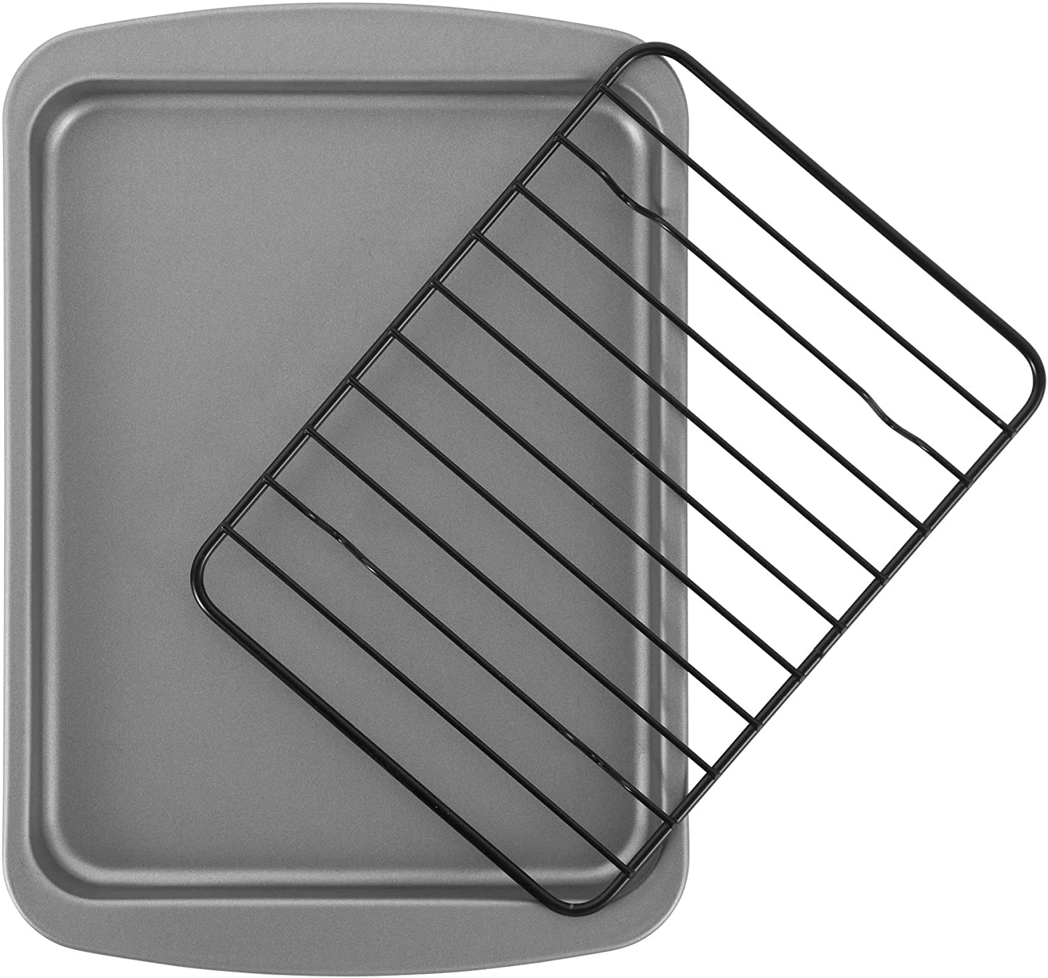 G & S Metal Products Company HG56R OvenStuff Toaster Oven Cookie Baking Pan with Nonstick Cooling Rack, 8.5'' x 6.5'', Gray