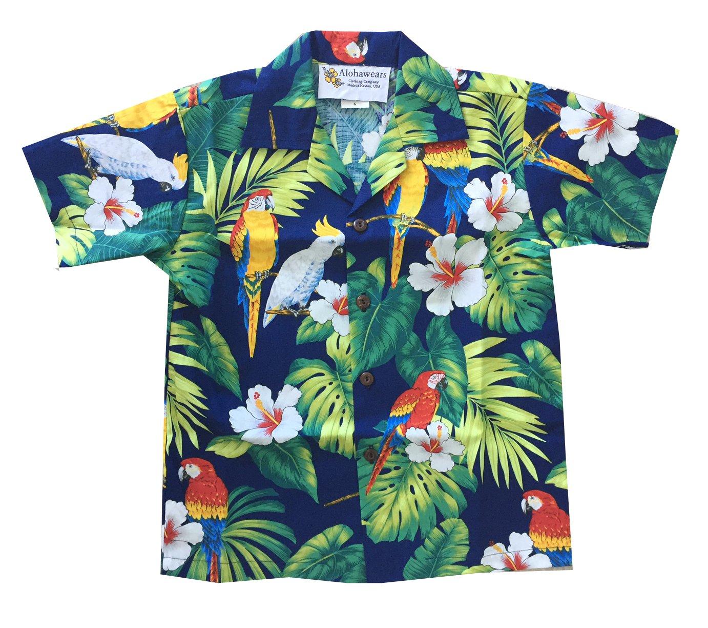 Made in Hawaii ! Boy's Tropical Parrot Hawaiian Luau Cruise Aloha Shirt (6, Navy)