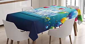 Ambesonne Birthday Tablecloth, Realistic Design in 3D Style Text Vibrant Colorful Balloons Flags Surprise Party, Dining Room Kitchen Rectangular Table Cover, 60