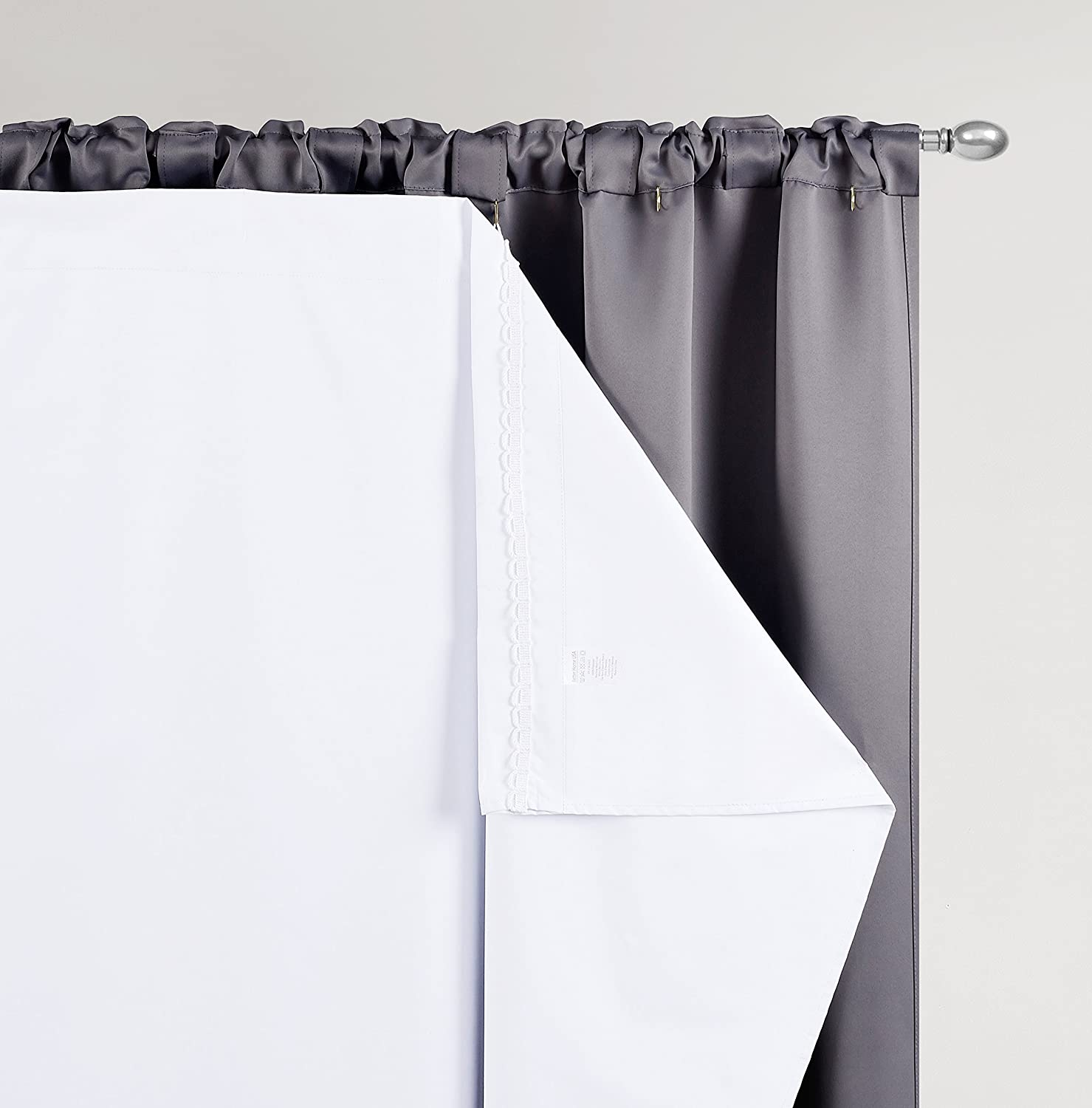 48W by 101L Inches Hooks Included One Panel BETTER HOME USA BHU Thermal Insulated Blackout Curtain Liner for 108 inch curtains-Blackout Thermal Liner