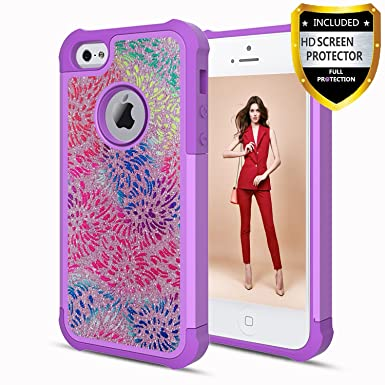 official photos ba5f4 8a18f Athchu iPhone 4 Case, iPhone 4S Case With Phone HD Screen Protector,  Glitter Bling Shockproof Hybrid Hard PC Soft TPU Protective Cover Case for  Apple ...