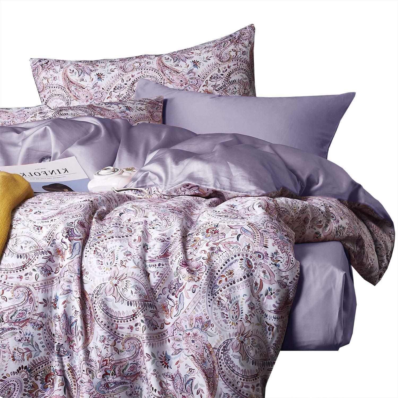 Wake In Cloud - Bohemian Sateen Duvet Cover Set, 400 TC Cotton Bedding, Boho Chic Paisley Mandala Pattern Printed, Reversible with Solid Plain Purple, Zipper Closure (3pcs, Queen Size)
