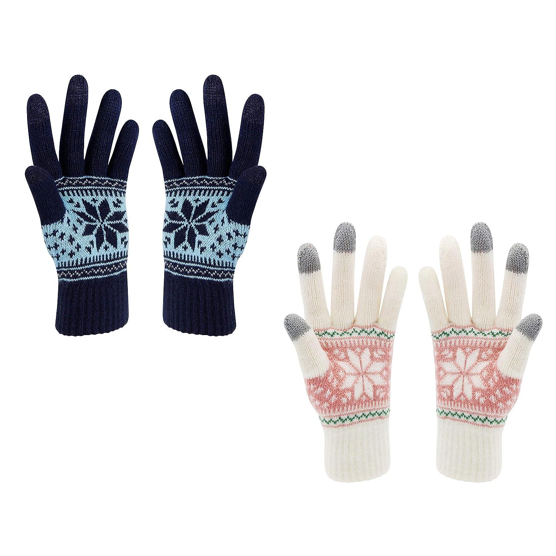 Limpression de fleur de neige de gants d/écran tactile dhiver maintiennent au chaud pour des femmes et des hommes