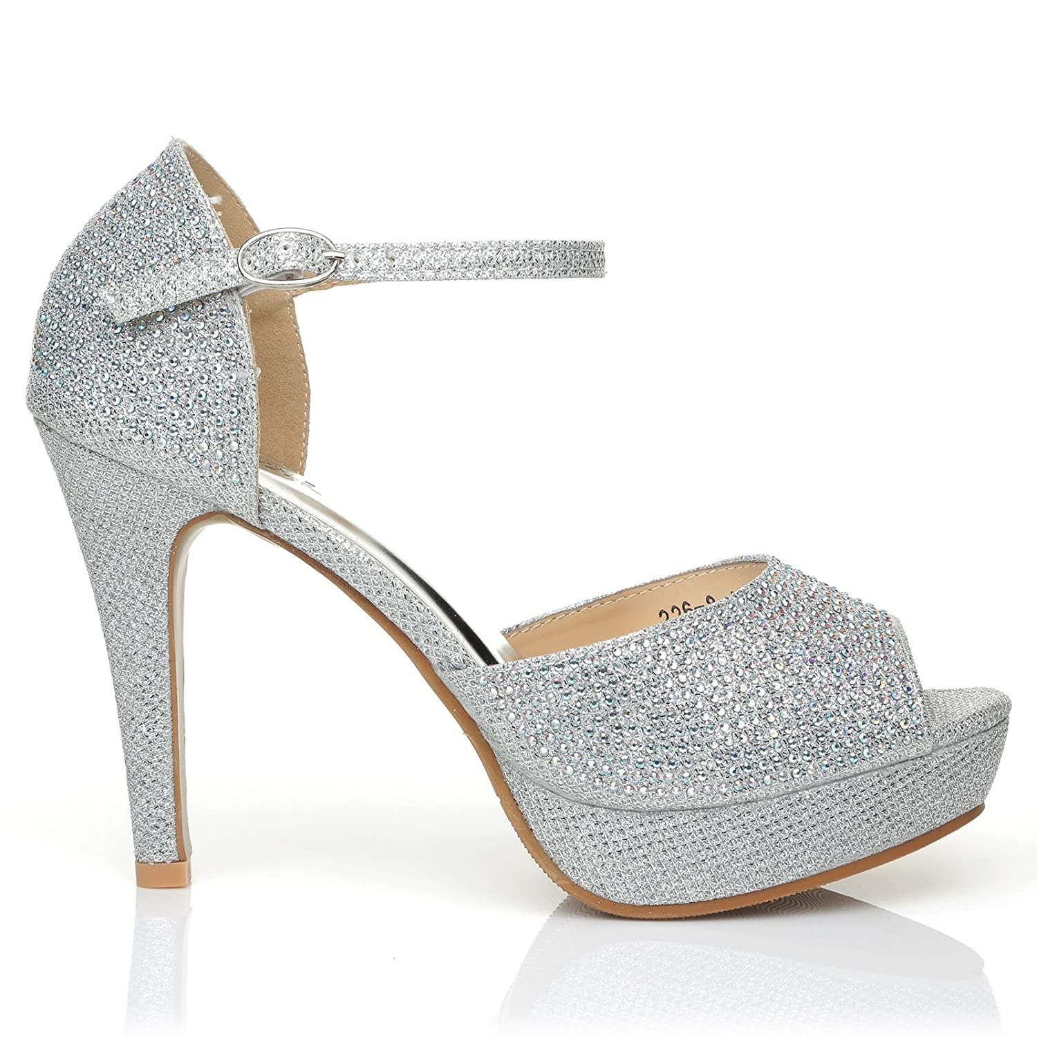 ShuWish UK Glamour Silver Diamante Encrusted Ankle Strap Platform Peep Toe High Heels: Amazon.co.uk: Shoes & Bags