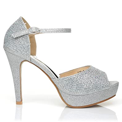 Glamour Silver Diamante Encrusted Ankle Strap Platform Peep Toe High Heels Size UK 4 EU 37