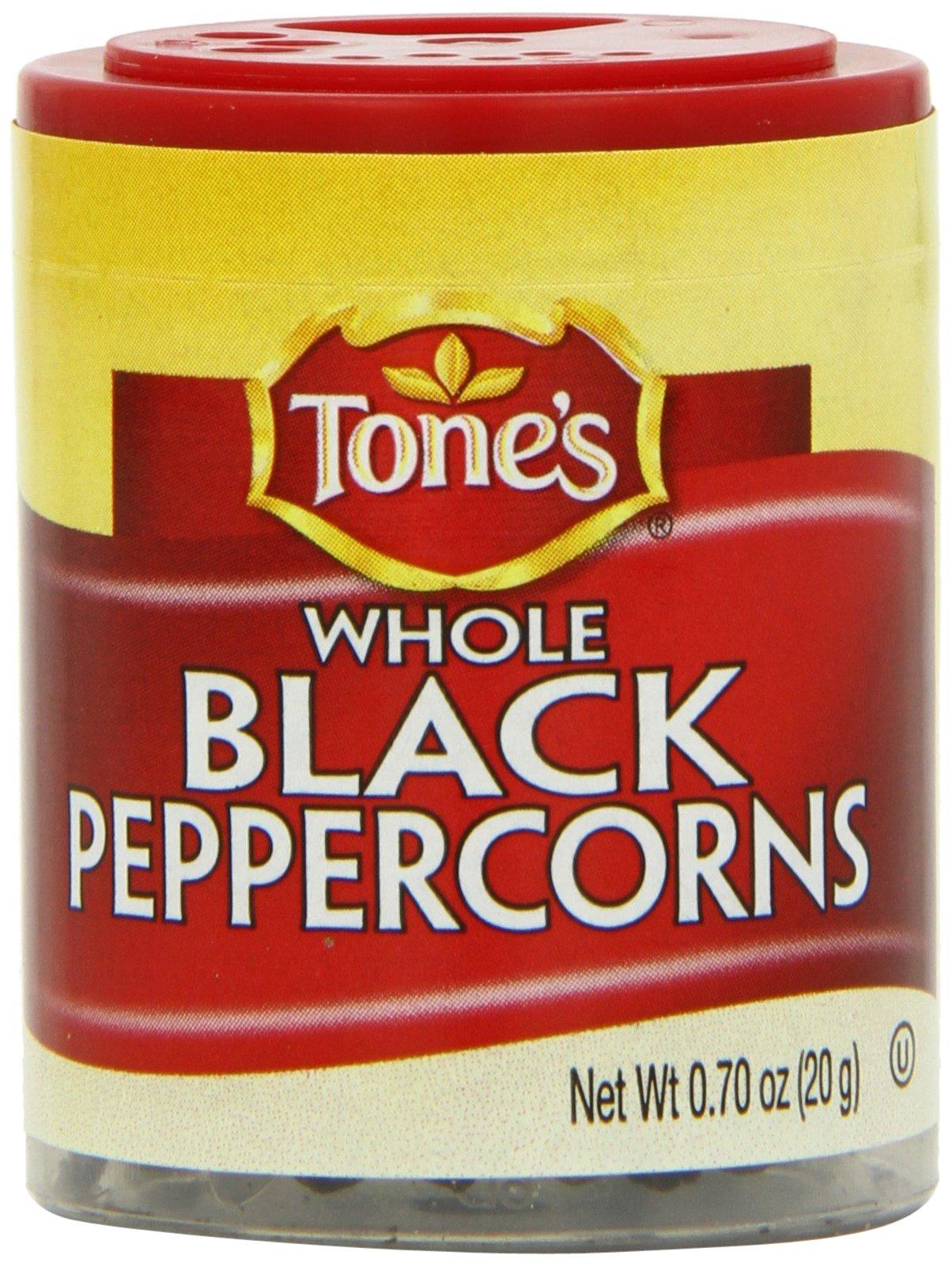 Tone's Mini's Pepper, Black Whole, 0.70 Ounce (Pack of 6)