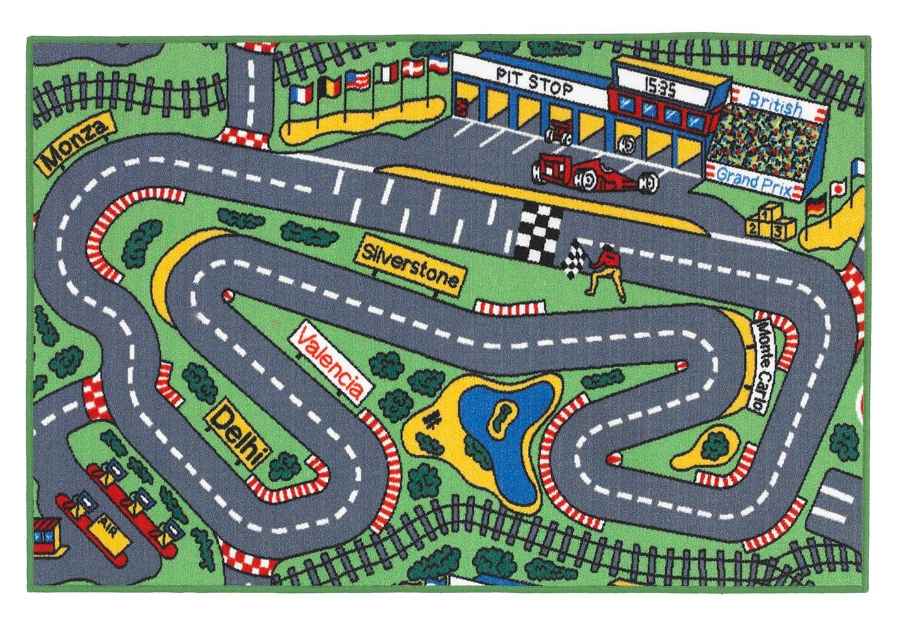 Superb Kids Formula 1 Racing Car Road Map Play Rug 1m x 1.5m (3'3 x 5' approx) The Good Rug Company