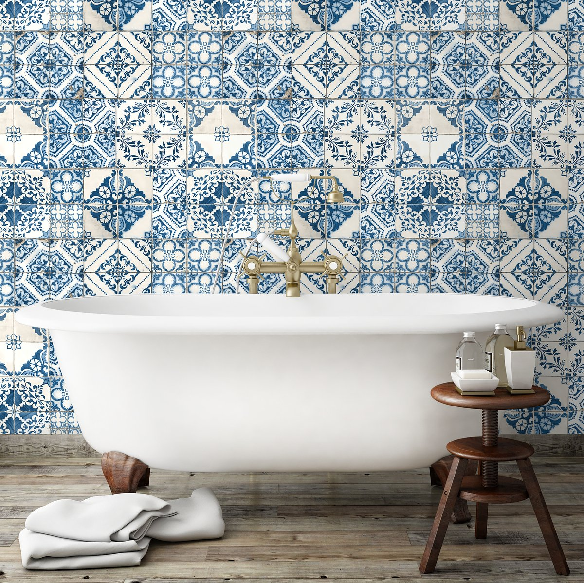 Wallpaper Moroccan Style Stick Mosaic Tile and Peel Print Wall Home ...