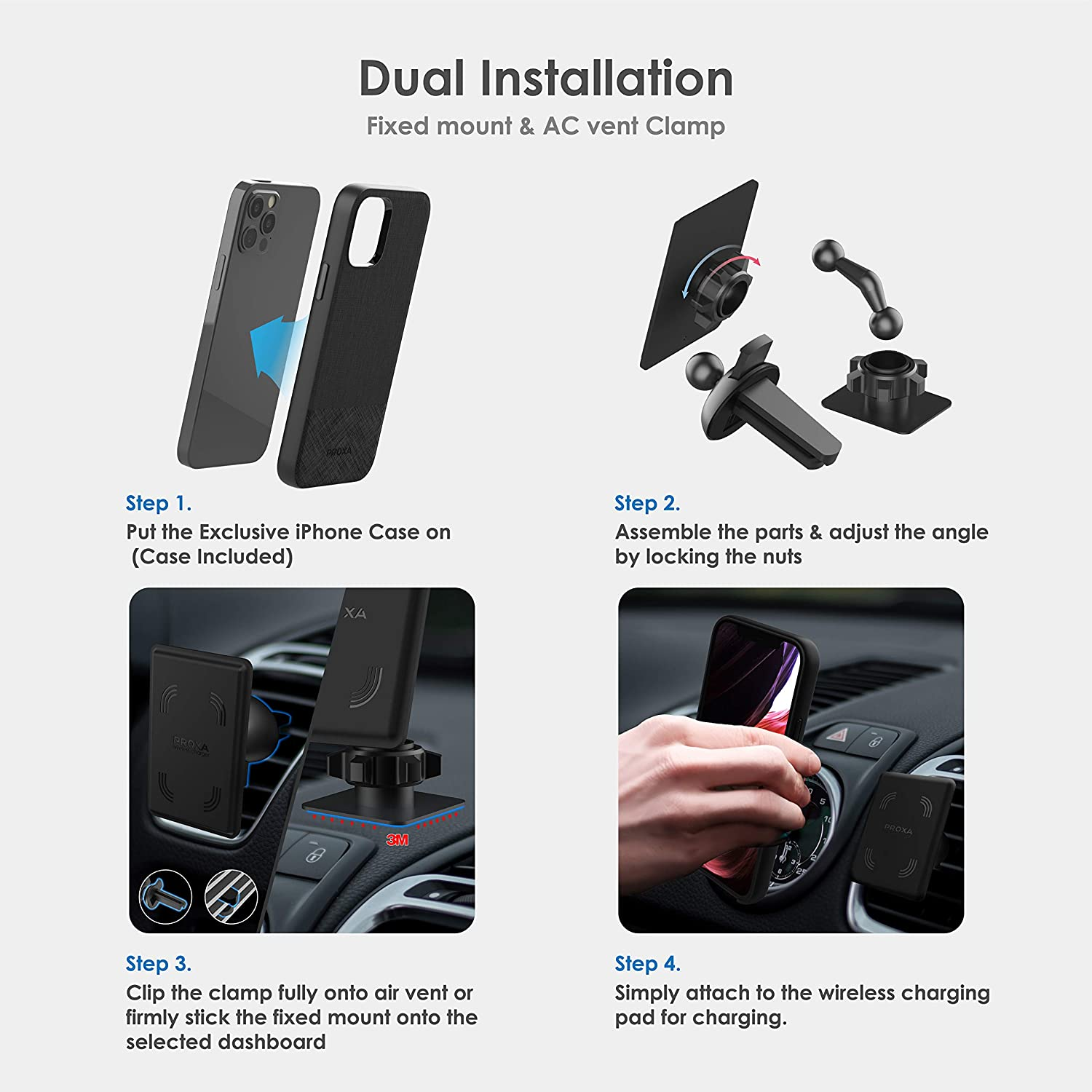 PROXA Magnetic Wireless Car Charger with 6.1 inch Case Designed for iPhone 12//12 Pro /&Dual Installation Mount/&Dual Port QC 3.0 Car Adapter-Compatible with iPhone 12//12 Pro MagSafe Compatible