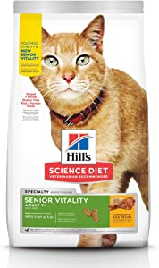 Hill's Science Diet Dry Cat Food, Adult 7+ for Senior Cats, Senior Vitality, Chicken & Rice Recipe