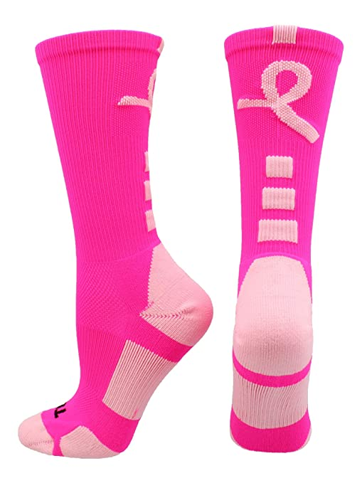 TCK Sports Breast Cancer Awareness Pink Ribbon Baseline Crew Socks