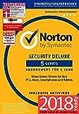 Norton Security Deluxe Antivirus Software 2018 / Zuverlässiger Virenschutz (Jahres-Abonnement) für bis zu 5 Geräte / Download für Windows (u.a. Vista, 8 & 10), Mac, Android & iOS